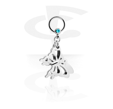 Kółka do piercingu, Jewelled Ball Closure Ring with Charm, Surgical Steel 316L