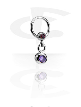 Jeweled Ball Closure Ring met hangertje