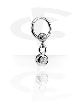 Jeweled Ball Closure Ring com Charm