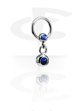 Piercing Anillos, Jeweled Ball Closure Ring con Charm, Acero quirúrgico 316L