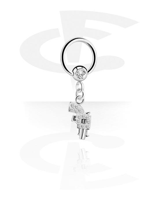 Piercingringen, Jeweled Ball Closure Ring met bedel, Chirurgisch staal 316L, Belegde messing