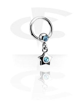 Jeweled Ball Closure Ring avec Charm