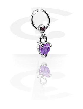 Anneaux, Jeweled Ball Closure Ring avec Charm, Acier chirurgical 316L