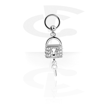 Jewelled Ball Closure Ring with Charm