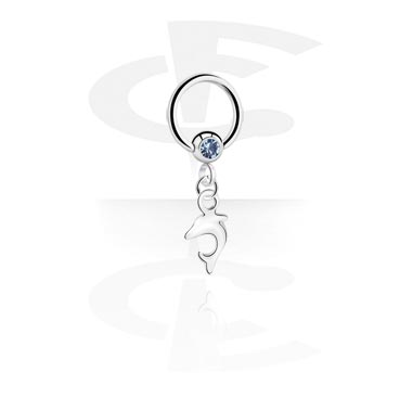 Alke za piercing, Jeweled Ball Closure Ring with Charm, Surgical Steel 316L
