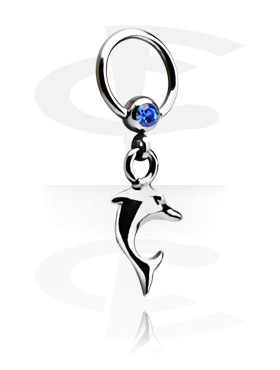 Jeweled Ball Closure Ring com Charm