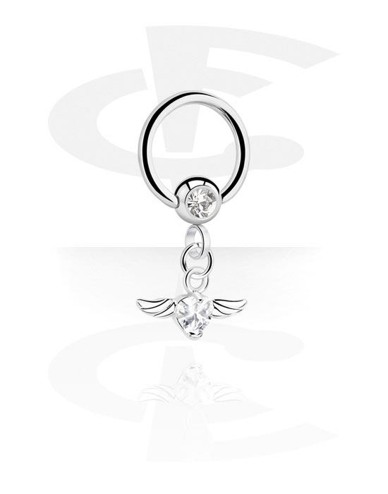 Piercing Ringe, Ball Closure Ring mit Kristallstein und Anhänger, Chirurgenstahl 316L, Plattiertes Messing