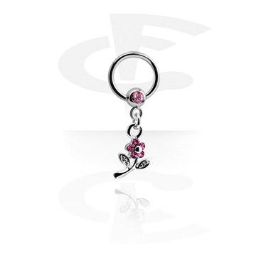 Kółka do piercingu, Jewelled Ball Closure Ring with Charm, Surgical Steel 316L