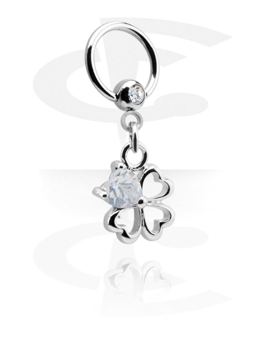 Piercingové kroužky, Ball closure ring s crystal stone a charm, Chirurgická ocel 316L, Pokovená mosaz