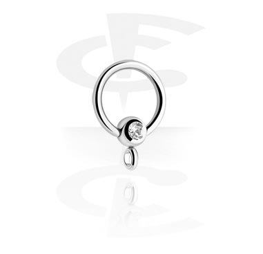 Balls & Replacement Ends, Jeweled Ball Closure Ring with Hoop, Surgical Steel 316L