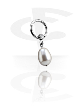 Piercing Ringe, Ball Closure Ring mit Kristallsteinkugel und Perle, Chirurgenstahl 316L