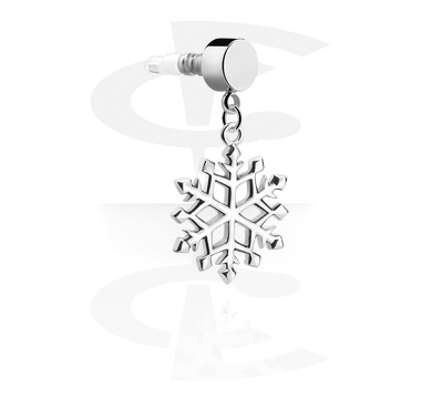 Phone Accessories, Earphone Plug Charm  with Snowflake Design, Surgical Steel 316L