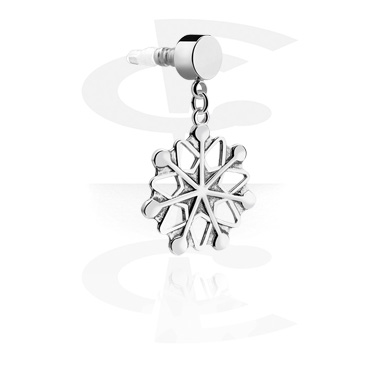 Phone Accessories, Earphone Plug Charm  with Snowflake Pendant, Surgical Steel 316L