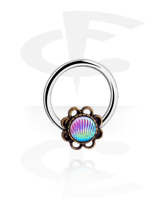 Piercing ad anello, Ball closure ring con conchiglia, Acciaio chirurgico 316L