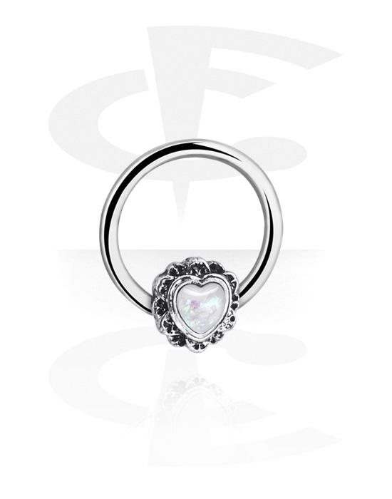 Piercing ad anello, Ball closure ring con cuore, Acciaio chirurgico 316L