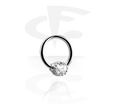Ball Closure Ring com bola com pedra de cristal