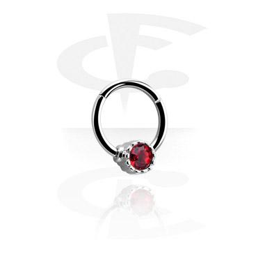 Кольцо с застежкой - шариком с кристаллом