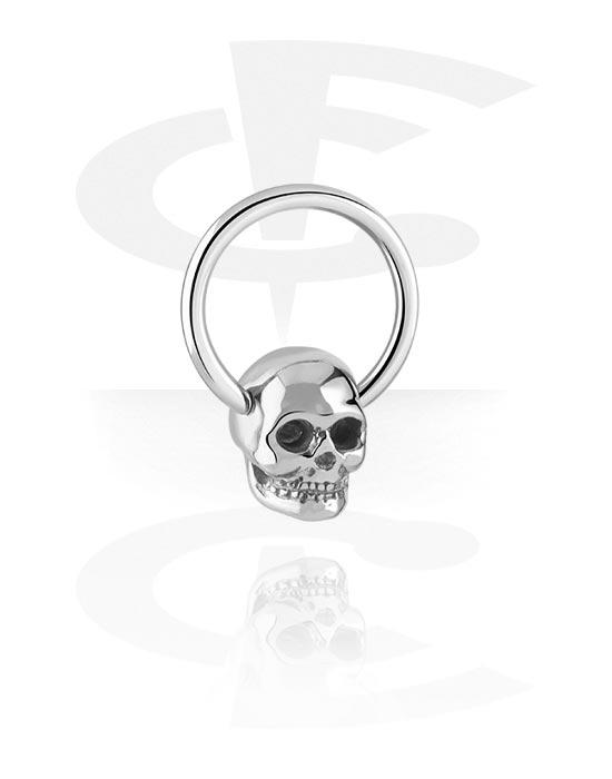 Piercingové kroužky, Ball closure ring s skull attachment, Chirurgická ocel 316L
