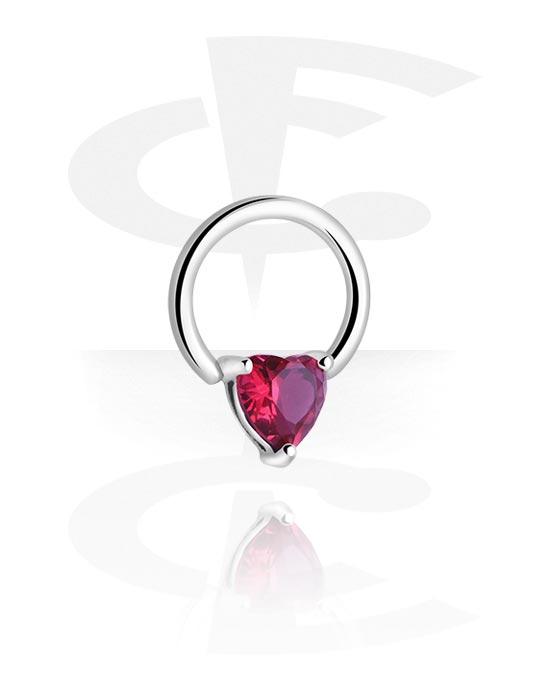 Renkaat, Ball closure ring kanssa Heart Design, Kirurginteräs 316L