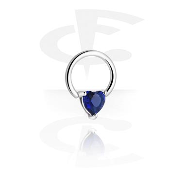 Piercing Rings, Ball Closure Ring with Clip-In Heart, Surgical Steel 316L