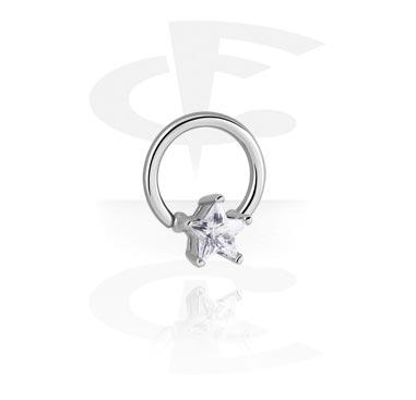 Piercing Ringe, Ball Closure Ring mit Aufsatz, Chirurgenstahl 316L