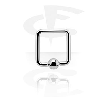 Piercing Rings, Square Ball Closure Ring, Surgical Steel 316L
