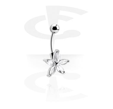 Curved Barbells, Curved Barbell with Cubic Zirconia, Surgical Steel 316L