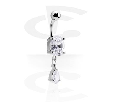 Curved Barbells, Banana with Cubic Zirconia, Surgical Steel 316L