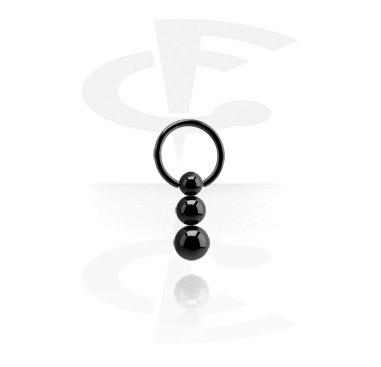 Schwarzer Ball Closure Ring mit Dreifachkugel