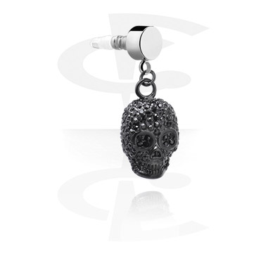 Phone Accessories, Black Earphone Plug Charm, Surgical Steel 316L