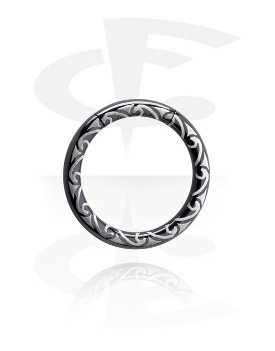 Renkaat, Laser Etched Black Smooth Segment Ring, Surgical Steel 316L