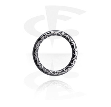 Renkaat, Laser Etched Black Smooth Segment Ring, Surgical Steel 316L
