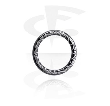 Laser Etched Black Smooth Segment Ring