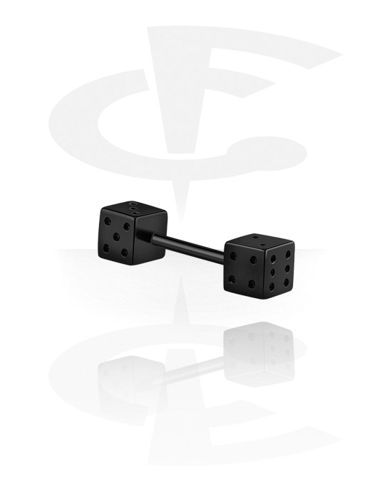 Barbells, Barbell with dice attachment, Black Surgical Steel 316L