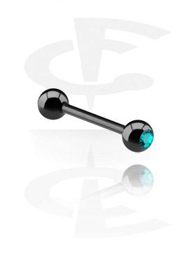 Zwarte Barbell met jeweled ball