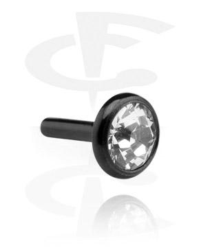 Disco preto com pedra de cristal para labrets internos de bioflex