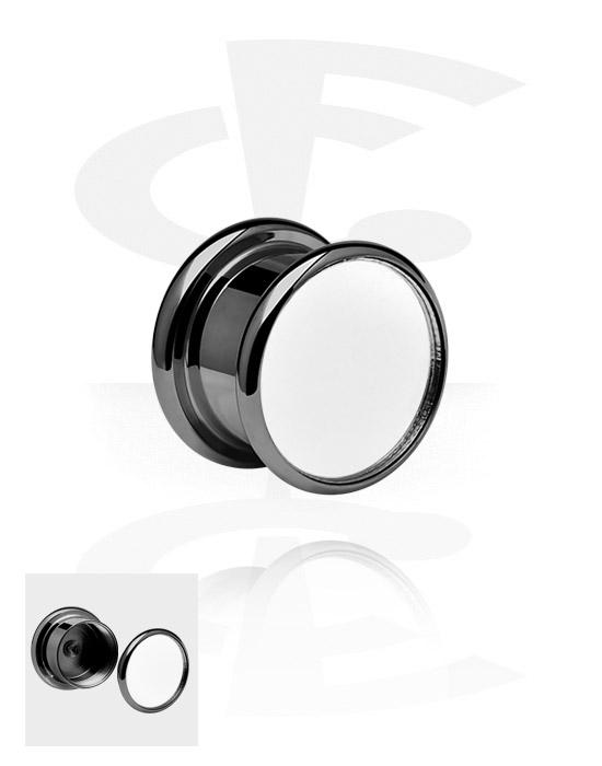 Tunnels & Plugs, Black Mirror Box Plug, Surgical Steel 316L