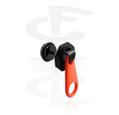 Black Fake Plug with Zipper