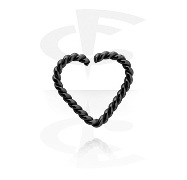 Kółka do piercingu, Black heart-shaped Continuous Ring, Surgical Steel 316L