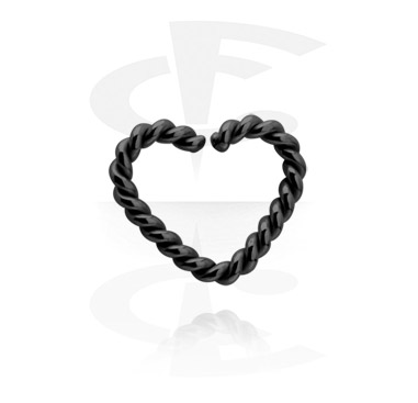 Kółka do piercingu, Black heart-shaped Continuous Ring, Surgical Steel 316L