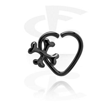 Piercing Anelli, Anello continuous nero a forma di cuore, Acciaio chirurgico 316L