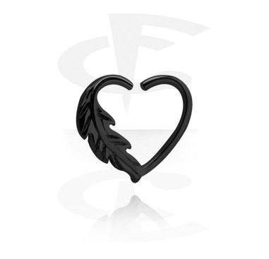 Черное кольцо для пирсинга в форме сердца