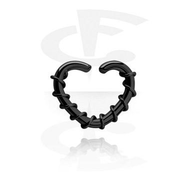 Anneau noir continu en forme de coeur