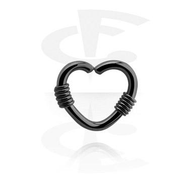 Schwarzer herzförmiger Continuous Ring
