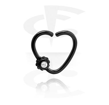 Continous ring preto com forma de coração