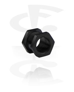 Flesh túnel negro en forma de hexágono