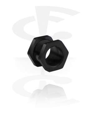 Flesh tunnel hexa noir