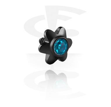 Schwarze Kristallblume für Stäbe mit Innengewinde