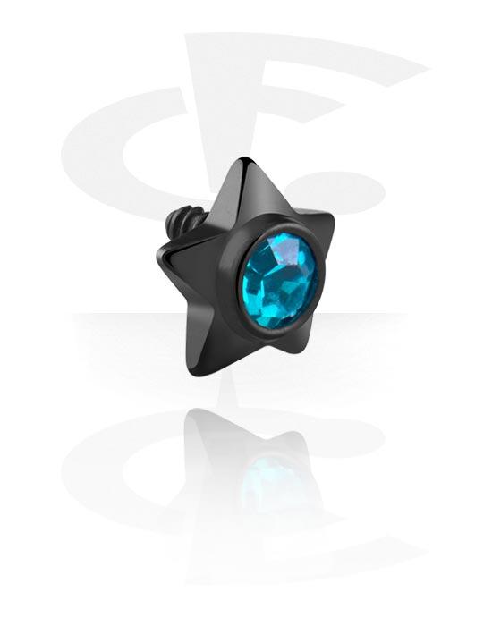 Kuličky, kolíčky a další, Black Steel Jeweled Star, Surgical Steel 316L