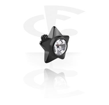 Pallot ja koristeet, Black Steel Jeweled Star, Surgical Steel 316L